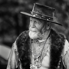 Mountain Man (arbyreed) Tags: arbyreed bw pioneerday mormonpioneers utahpioneerday celebration reenactor brighamyoung provoutah utahcountyutah squareformat mountainman woundedwolf buckskincostume hat