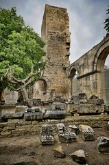 Remains of Roman architectural elements from the Roman theater in Arles, France (mharrsch) Tags: theater cornice architecture roman ancient arles arelate france mharrsch