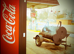 Symsonia Smoker Grill (Bob G. Bell) Tags: advertising lomo coke bbq grill gasstation barbecue fujifilm cocacola grocery smoker fauxlomo x30 slabtown cokemachine bobbell symsonia