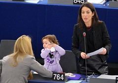 FRANCE-EU-PARLIAMENT-POLITICS (MohamedChaari1963Sfax) Tags: family woman france horizontal child daughter strasbourg mobilephone microphone speech speaking europeanparliament basrhin womenworking womanpolitician personpolitics memberoftheeuropeanparliament