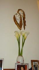 DSC00494 (amalia_mar) Tags: flowers decoration greece masks vase zantedeschia     sonyhdrtg3e