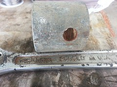 """coupling to be drilled out to fit a 1/4"""" hot water pvc pipe for isolation"""