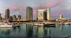 San Diego (Saeb Khatib) Tags: sunset water sailboat marriott harbor cityscape sandiego highrise conventioncenter hotels luxury sonye1650mmf3556osspz sonya6000 sonyilce6000