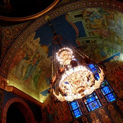 St. Sava Serbian Orthodox Cathedral 33 (milomingo) Tags: church parish wisconsin religious lowlight midwest arch cathedral milwaukee ornate orthodox iconography serbian stsava iconographic serbiandaysfestival2014 serbhallfestival2014