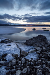 Melting (Lauri-H) Tags: sunset lake ice water finland rocks shore melt vammala sastamala