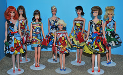 Barbie Loves the Avengers! (toomanypictures1) Tags: vintage skipper shift francie avengers modbarbie ooakclothes cottoncasual campusbelle