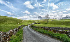hills and sky (rich01535) Tags: road blue sky cloud green wall clouds countryside yorkshire country picture hills valley fields yorkshiredales nikond610