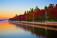 Classic autumn morning in Canberra (LambdaLevel) Tags: longexposure autumn trees sky lake reflection fall nature sunrise landscape seasons slowshutter lakeburleygriffin ndfilter