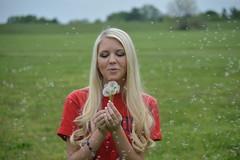 Flying Seeds (imkaifilbey) Tags: blue red portrait hair ole seeds blonde bracelet miss staged dandelions
