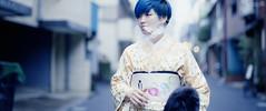 typos (Shuji Moriwaki) Tags: street blue portrait 120 film japan analog hair fuji smoke crop medium format kimono cinematic nagasaki aspect 400h pentax67 2391 vape