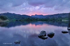 Pink Destiny (jeanette_lea) Tags: trees sunset lake colour water reflections rocks district cumbria the elterwater