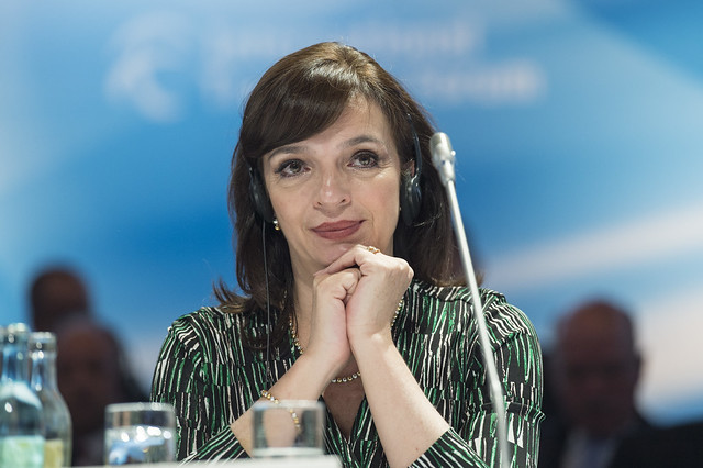 Yuriria Mascott Pérez listens during the Open Ministerial Session