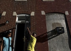 Baltimore (Blinkofanaye) Tags: street door light sunset shadow red color yellow kids colours candid baltimore