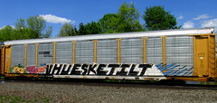 (timetomakethepasta) Tags: vhue freight train graffiti ns autorack norfolk southern happy halloween art ske tilt