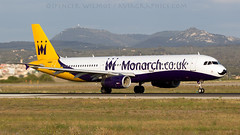 Monarch A321 Movember Markings. (spencer.wilmot) Tags: a321 mon monarch pmi palma spain balearicislands majorca mallorca departure runway lepa aeropuertodepalmademallorca sonsantjoan 24r palmademallorca rolling aviation zb movember moustache cancerawareness specialmarkings charter it airplane aircraft airliner airport airside airbus ramptour eveninglight evening plane jet jetliner narrowbody takeoff