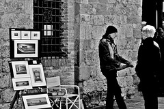 Artist at work (Emanuele Barcali) Tags: vacation sky italy sun black green tower love clouds countryside photo san artist view gimignano weekend withe sunny medieval hills tuscany sangimignano castello borgo castel torri blackwithe togheter