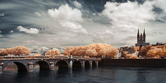 While we can dream... (Lolo_) Tags: bridge trees panorama france saint river ir maine berge cathdrale arbres infrared pont ardoise laud angers verdun infrarouge doutre