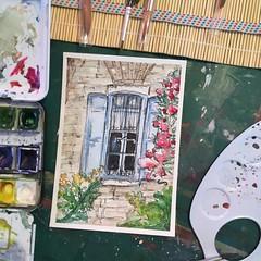 Window (marusaart) Tags: window watercolor postcard watercolour aquarell schmincke marusaart