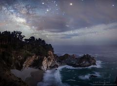 Cloudy Night at McWay Falls (Rick Whitacre) Tags: ocean clouds stars bigsur pacificocean waterfalls milkyway mcwayfalls juliapheifferburnsstatepark