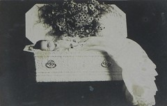 Postmortem (Gerri Gray Photography) Tags: flowers baby monochrome sepia vintage dead photography death infant wake child post antique victorian casket funeral photograph corpse coffin edwardian postmortem mortem
