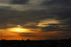 YELLOW SKY (ensoleillement91) Tags: sky sun sunset city nature landscape weather cloud clouds nofilter evening india hyderabad