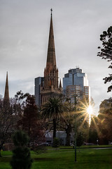 St Patrick's Cathedral, Melbourne (evilDink) Tags: victoria building australia edited xt1 cityscape mirrorless fujifilm clouds urban niksoftware manmade xf56mmf12 nikcollectionbygoogle stpatrickscathederal colorefexpro4 viveza melbourne cityskyline urbanscape