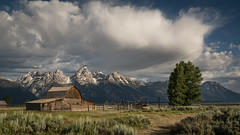 John Moulton Barn (Jeremy Duguid) Tags: grand teton national park tetons landscape landscapes nature clouds sunrise morning dawn travel barn moulton jackson hole wyoming wy west western usa jeremy duguid sony cloudscape cloudscapes trees mountains peaks early summer