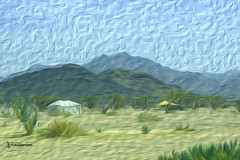 Windy Desert (haidarism (Ahmed Alhaidari)) Tags: trees plants mountain plant mountains tree art tents sand desert artistic wind creative windy tent creation create
