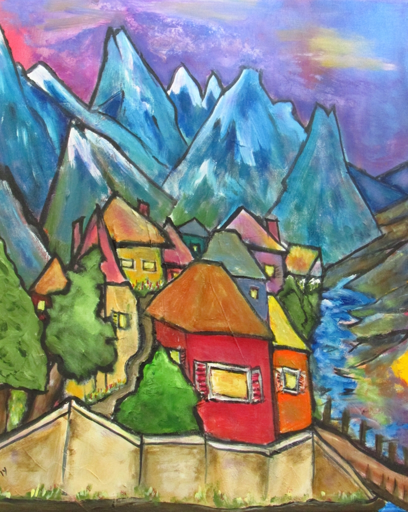 Red And Yellow Mountain Painting Italian