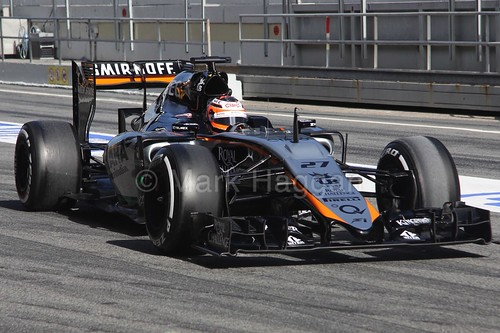 Nico Hulkenberg in his Force India during Formula One Winter Testing 2015