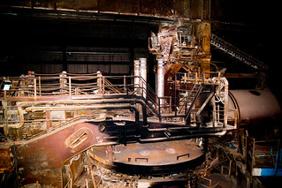 One of the six furnaces, each able to hold 110 tons of scrap metal