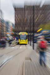 Piccadilly Gardens, Manchester (andyrousephotography) Tags: city urban abstract blur station gardens train canon manchester metro zoom transport tram rail piccadilly blurred metrolink impressionist icm tramlines blurredlines eos5d andyrouse 5dmkiii 5d3 andyrousephotography