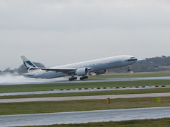 Back To Hong Kong , Cathay Pacific Boeing 777-300 (Gary Chatterton 3 million Views Thank You All) Tags: airplane hongkong airport flickr aircraft aeroplane spray exploreinterestingness boeing airlines takeoff runway manchesterairport cathaypacific boeing777 aviationaward
