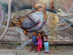 Kids posing in front of a mural by Binho and Cernesto in Woodstock in Cape Town, South Africa (Karin du Maire) Tags: girls streetart cute art boys kids pose children southafrica graffiti mural posing capetown cern piece woodstock binho zaf