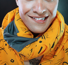 Auto Portrait (shampubanana) Tags: man smile fashion closeup myself studio design cut teeth products photogapher 2014 clothe yellowish selffashion
