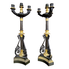Fine Pair of Period Charles X Patinated and Gilt Bronze Candelabra, c. 1830 (thehighboy) Tags: lighting miami antiques collectibles highboy candelabras charlesx giltbronzecandelabra