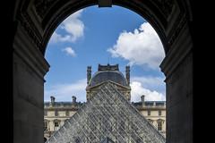Louvre 1 (Franck Bzh) Tags: blue cloud paris france tourism architecture french nikon europe heaven louvre sigma wideangle bleu ciel deaf nuage iledefrance franais ville parisian tourisme lightroom photographe parisien grandangle d7100 nikond7100 photographesourd franckleguen