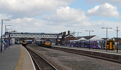 Rush Hour at Selby Station! (dgh2222) Tags: station 66 class northern 158 dbs 185 tpe biomass selby 185101