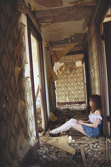 (yyellowbird) Tags: wallpaper house selfportrait abandoned girl illinois interior hallway cari