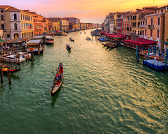 The Grand Canal at Sunset (Venice, Italy) (12thSonOfLama) Tags: travel venice italy rialtobridge canal travelphotography thegrandcanal bridgevenice gondolavenice canalvenice sunsetinvenice
