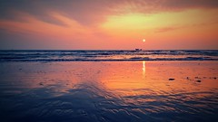 The Golden Hour! (Curious ClickZ) Tags: sunset red sea beach water beautiful landscape nopeople bangladesh goldenhour chittagong seabeach coxsbazar cellphonegraphy galaxynote4
