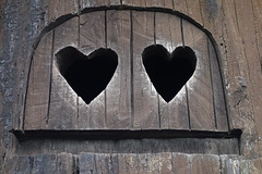 Carved Heart Windows (Heath & the B.L.T. boys) Tags: california window heart treehouse stump redwoods playhouse