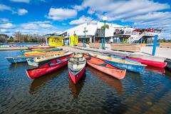 Dow's Lake Pavilion (LorenzMao) Tags: ontario canada reflection water clouds kayak ottawa bluesky multicolor waterreflection dowslake caneo dowslakepavilion httpwwwlorenzmaophotographycom