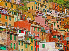 hillside homes (albyn.davis) Tags: riomaggiore cinqueterre italy homes buildings architecture colors colorful bright vivid vibrant orange yellow gold