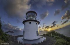 Makapuu Lighthouse 03 (Juneau Biscuits) Tags: ocean sea lighthouse beach clouds sunrise skyscape hawaii oahu bluesky honolulu cloudscape makapuu makapuulighthouse