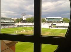 "NTJ-31 Window on to the ""Home of Cricket"" (nigeltjackson52) Tags: lords middlesex surrey cricket mcc green white pavillion mediacentre jpmorgan floodlights wicket grandstand umpire batsmen fielders"