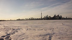 Timelapse of Toronto city from the island (theodorebonfils) Tags: city sunset lake snow toronto ice night island timelapse sony a5000