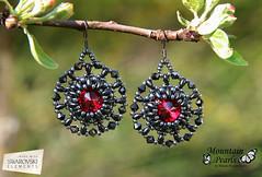 Black earrings with Swarovski rivoli, Mountain Pearls by Nataša Hozjan Kutin (mountain.pearls) Tags: red mountain beads jewelry pearls swarovski rivoli kutin nataša nakit rdeča superduo hozjan