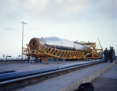 Atlas Missile on Pad------- DUPE TRANSPARENCY/UNCLASSIFIED , U.S. AIR FORCE PHOTO/OL1-1352 MPS - APCS (MATS) , 163'59  0L-1-1352 MPS UNCL , , film: 163-59-1-1352 UNCL. DUPE (San Diego Air & Space Museum Archives) Tags: atlas atlasmissile