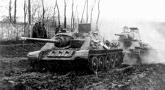 The SU-85 and T-34 in German service as the JgPz 85(r) and the PzKpfw T-34 747(r), respectively.